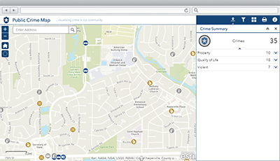 Public Crime Map | ArcGIS Solutions for Local Government on computerized crime mapping, map crime mapping, historical gis, gis and hydrology, crime prevention, crime analysis, gis crime-fighting, traditional knowledge gis, uniform crime reports, routine activity theory, geographic information system, police crime mapping, white-collar crime, remote sensing application, benefits of crime mapping, geographic profiling, fixing broken windows, gis applications,